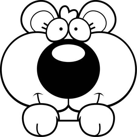A cartoon illustration of a bear cub peeking over an object. Çizim