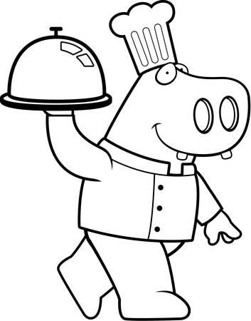 cartoon hippo: A happy cartoon hippo chef with a serving tray.
