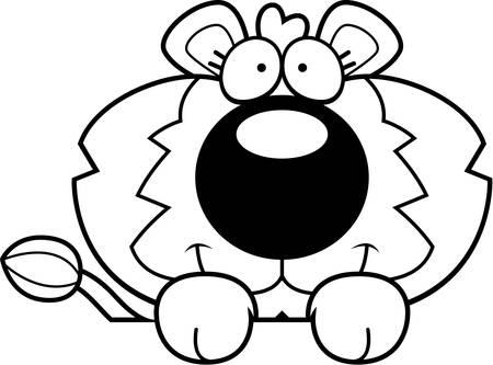 выглядывал: Мультфильм иллюстрации львенка выглядывает над объектом.