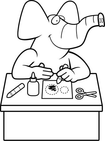 paper arts and crafts: A cartoon illustration of a elephant doing arts and crafts.