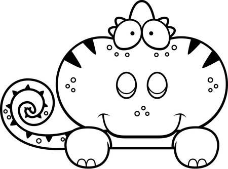 peeking: A cartoon illustration of a chameleon peeking over an object.