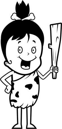 A happy cartoon caveman girl with a club.