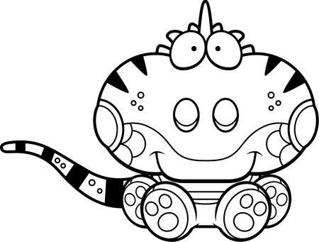 Een cartoon illustratie van een leguaan zitten en glimlachen. Stock Illustratie