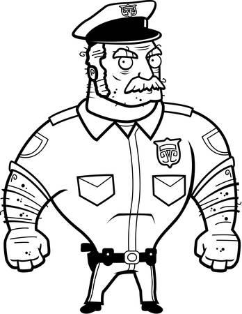 怒りの表現で漫画警察官。