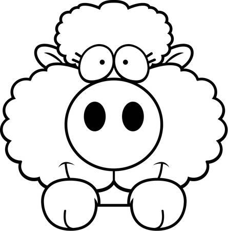 A cartoon illustration of a lamb peeking over an object.