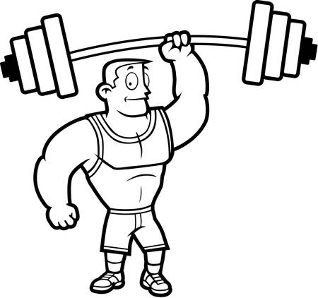 A cartoon strong man lifting a heavy weight. Illustration