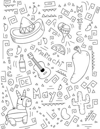 pinata: A cartoon doodle with a Cinco de Mayo theme. Illustration