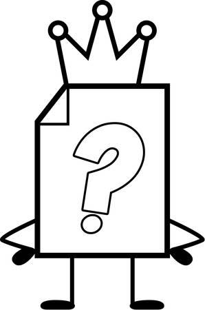 Een cartoon illustratie van een onbekend bestand met een kroon.