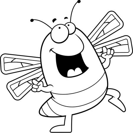 A happy cartoon dragonfly dancing and smiling. Ilustração