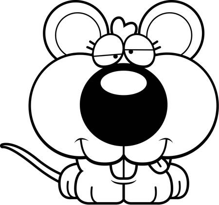 A cartoon illustration of a baby mouse with a goofy expression.