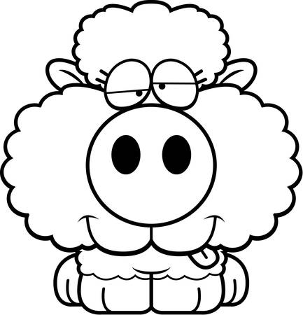 A cartoon illustration of a lamb with a goofy expression.