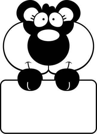 panda cub: A cartoon illustration of a panda cub with a white sign.