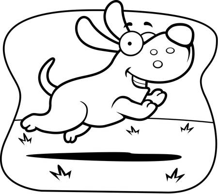 A cartoon illustration of a dog running.