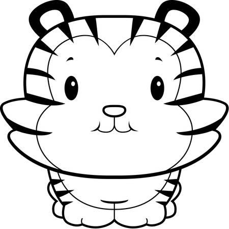 baby tiger: A happy cartoon baby tiger cub smiling.