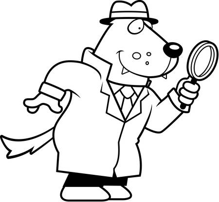 crime solving: A cartoon illustration of a wolf detective investigating.
