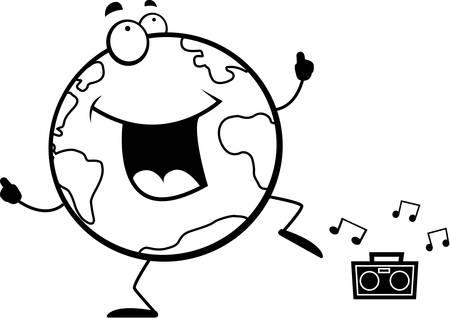 happy planet earth: Un planeta de dibujos animados feliz bailando y sonriendo Tierra. Vectores