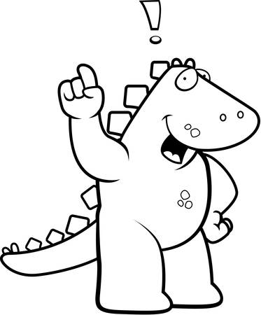 A happy cartoon dinosaur with an idea. Иллюстрация