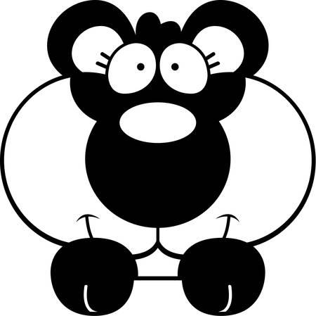 peeking: A cartoon illustration of a panda cub peeking over an object.