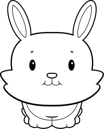 rabbit standing: A happy cartoon baby rabbit standing and smiling.