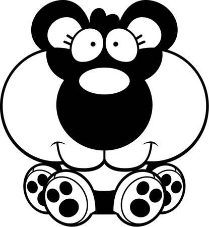 panda cub: Un ejemplo de la historieta de un cachorro de panda sentado y sonriente.