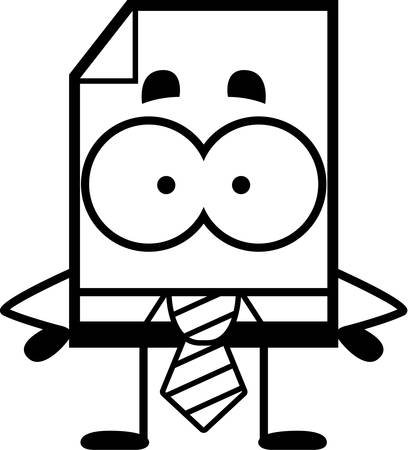 A cartoon illustration of a business file standing.