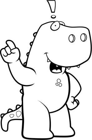 A happy cartoon dinosaur with an idea. Illustration