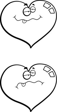 nauseous: A cartoon heart with a sick expression. Illustration