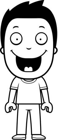 niño de pie: Un niño de dibujos animados feliz de pie y sonriente.