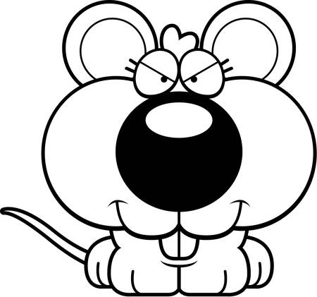 devious: A cartoon illustration of a baby mouse with a sly expression.