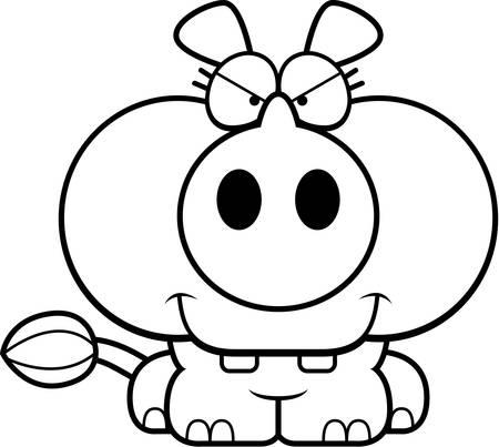작은 표정으로 작은 코뿔소의 만화 그림.