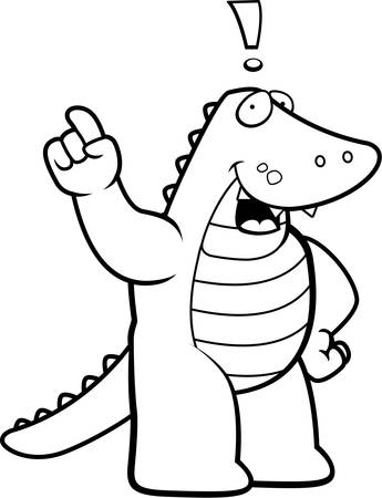 A happy cartoon alligator with an idea.