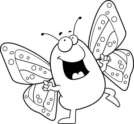 A happy cartoon butterfly dancing and smiling.