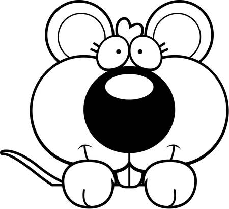 peering: A cartoon illustration of a baby mouse peeking over an object.