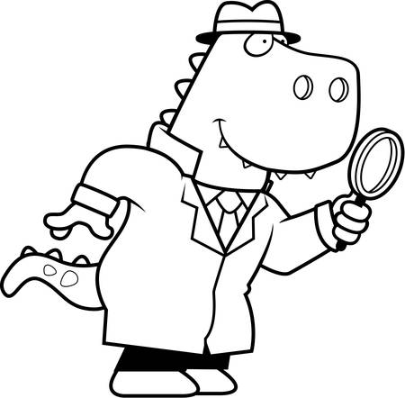 A cartoon illustration of a Tyrannosaurus Rex dinosaur detective with a magnifying glass.