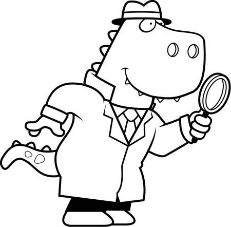tyrannosaurus rex: Una ilustración de dibujos animados de un detective dinosaurio Tyrannosaurus Rex con una lupa.