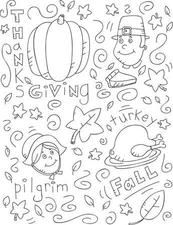 Ein Cartoon-Doodle mit einem Thanksgiving-Thema. Standard-Bild - 43362271