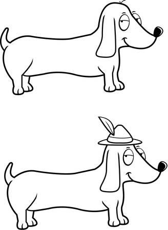 weiner: A happy cartoon Dachshund dog with an Oktoberfest hat on.