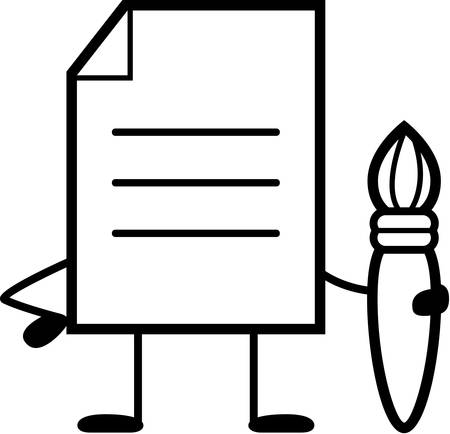 A cartoon illustration of a document with a paintbrush.