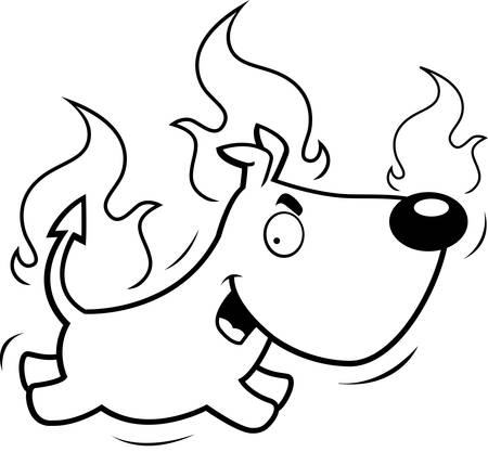 A cartoon devil dog running and smiling.