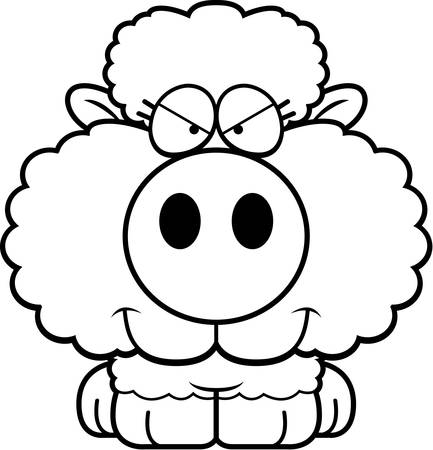 sly: A cartoon illustration of a lamb with a sly expression.