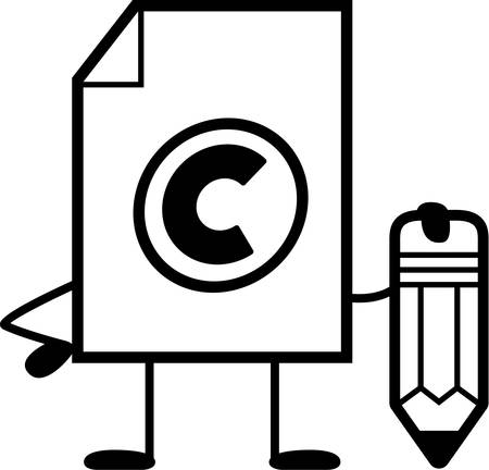 copyrighted: A cartoon illustration of a copyrighted file with a pencil. Illustration