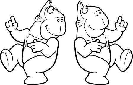 ape: A happy cartoon ape dancing and smiling. Illustration