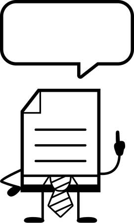 word balloon: A cartoon illustration of a business document talking.