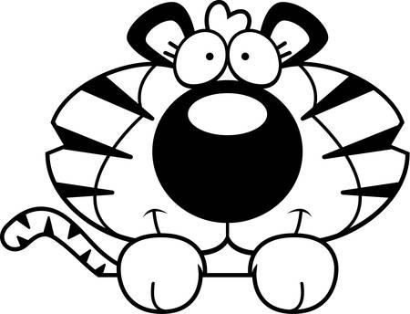 peering: A cartoon illustration of a tiger cub peeking over an object.