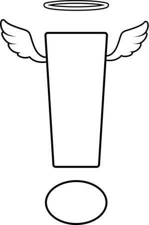 A cartoon exclamation point with angel wings and halo. Иллюстрация