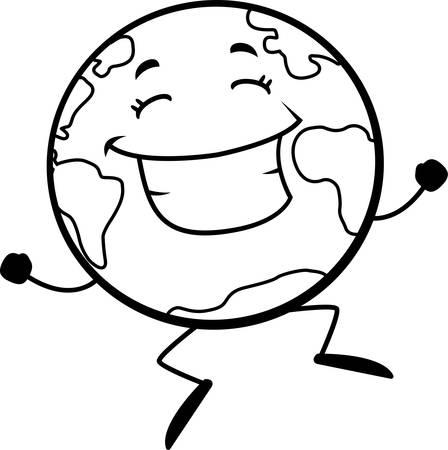 tierra caricatura: Una caricatura feliz Tierra saltando y sonriendo. Vectores