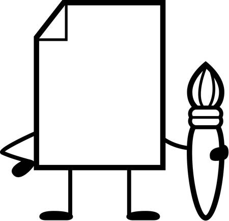 creative arts: A cartoon illustration of a blank paper with a paintbrush. Illustration