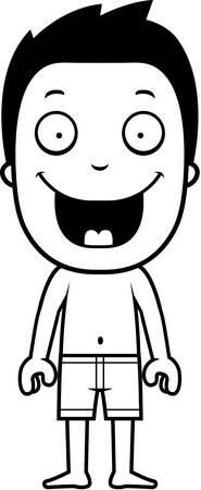 bathing suit: A cartoon illustration of a boy in a bathing suit. Illustration