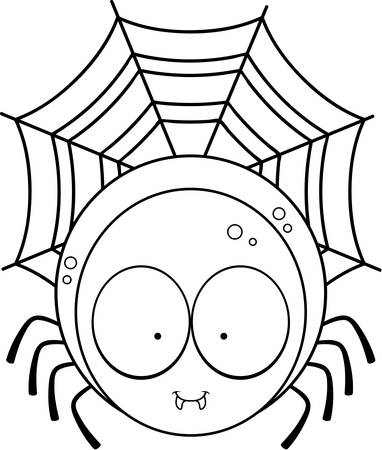 spider web: A cartoon illustration of a spider on a web.