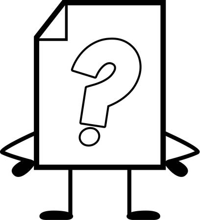 unknown: A cartoon illustration of an unknown file standing. Illustration